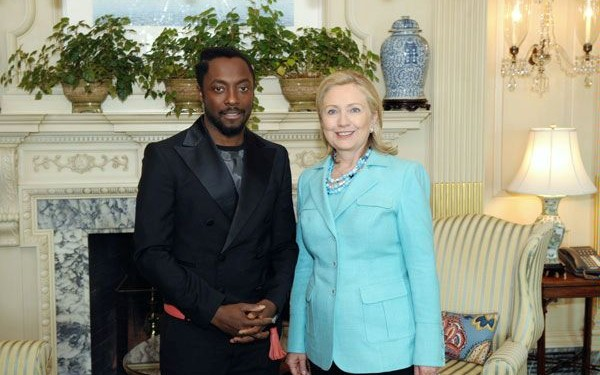 Will.i.am and Hillary Clinton