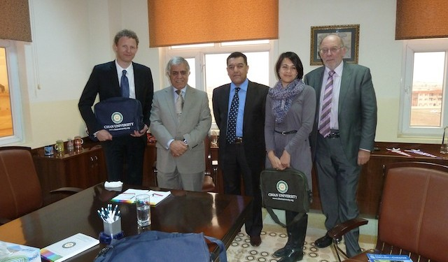 English UK reps visit Cihan University, Erbil. From left to right: Steve Phillips, English UK, Dr Nawzad Bajger, Cihan University, Professor Amjad S. Aldalawi, Cihan University, Jodie Gray and Richard Day, English UK