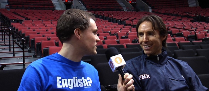 Steve Nash is the latest NBA star to give a lesson on the ELT website English, baby!