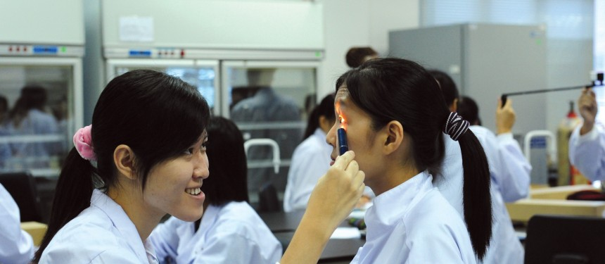 Students exploring pupillary light reflex at the University of Nottingham, Malaysia Campus. A thriving regional education hub, Malaysia recruits most of its students from neighbouring Asian and Middle Eastern countries