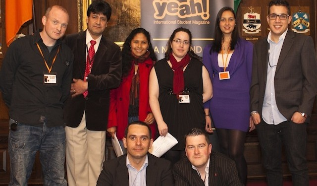 Editor Yan Callagy (bottom right) was joined by faces from Ireland's IE community to celebrate the launch of Yeah!, a new magazine aimed at international students in the country