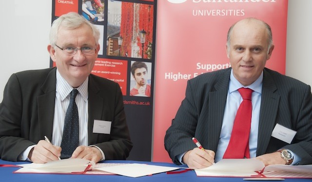 Patrick Loughrey, warden of Goldsmiths with Luis Juste, director of Santander Universities UK, signing the agreement yesterday
