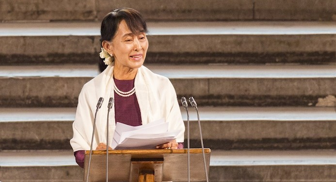 Aung San Suu Kyi spoke about education during her Westminster speech. Photograph: Roger Harris