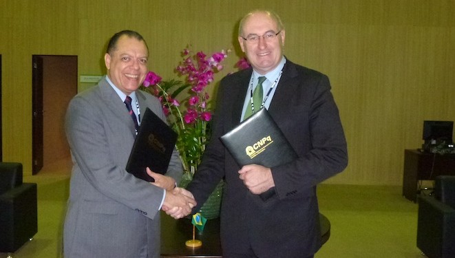 Minister Hogan (pictured, right) signed agreements that will see 1,500 Brazilians study in Ireland