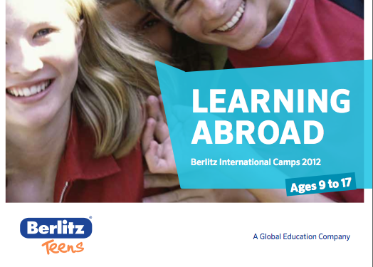 The cover of the Berlitz International Camps brochure
