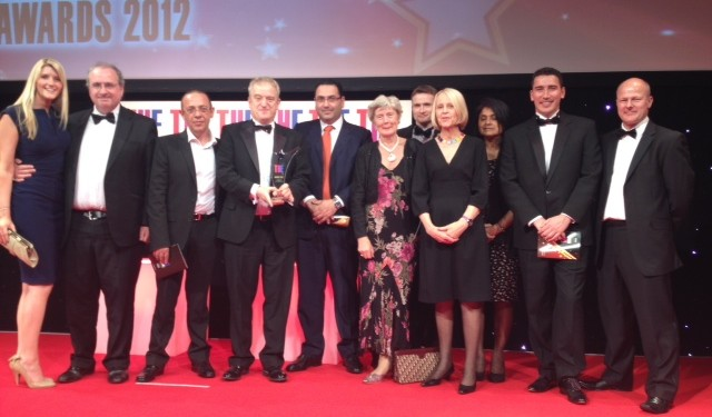 "The UEL international team accept the ""Outstanding International Strategy Award"" at The THE Leadership and Management Awards"