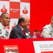 F1 driver Lewis Hamilton, President of Santander, Emilio Botín, F1 driver Jenson Button