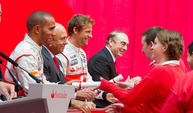 Formula One stars Lewis Hamilton and Jenson Button joined head of Santander, Emilio Botín, to hand out 100 study abroad scholarships yesterday (photo: Roger Harris)