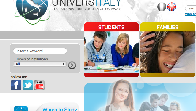 The UniversItaly site, which is available in English and Italian, is designed to boost foreign access to Italian HE