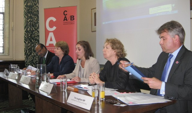 Left to right: HE Abhimanu Kundasamy, high commissioner for Mauritius; Ann Puntis, CEO of Cambridge International Examinations; Daisy Cooper, director of the Commonwealth Advisory Bureau; Ann Cotton, CEO/founder of Camfed; and Tim Loughton, MP, UK minister for children and families.