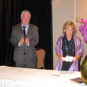 Dr. Randall Martin, Executive Director, British Columbia Council for International Education and Karen McBride, President and CEO of the Canadian Bureau for International Education sign a memorandum of understanding.