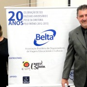 Marilgan Gabarra, Director (left) and Carlos Robles, President, toast BELTA's success