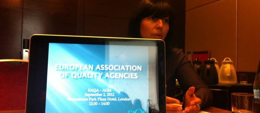 EAQA Treasurer Helen Khilkova speaks at the General Meeting
