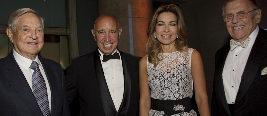 L-R: George Soros, Thomas A. Russo, Princess Ghida Talal of Jordan, Henry G. Jarecki