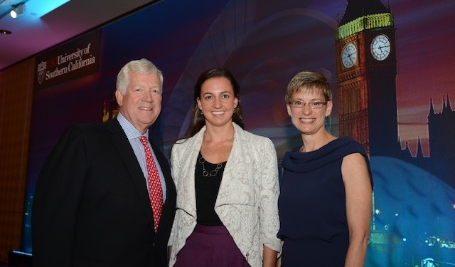 James Ellis, dean of USC's Marshall School of Business; Elizabeth Garrett, provost and senior vice president for academic affairs at USC; and Olympic gold swimmer and former USC student Rebecca Soni