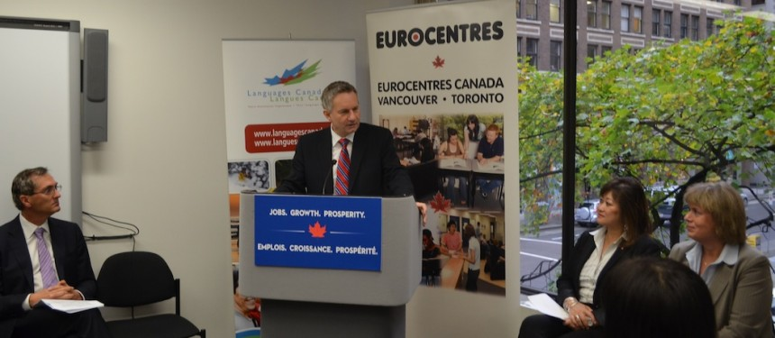 Minister Fast announced the funding at Eurocentres in Vancouver