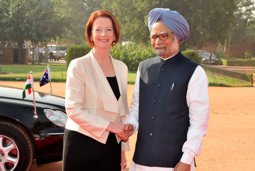 Prime Ministers Gillard and Singh