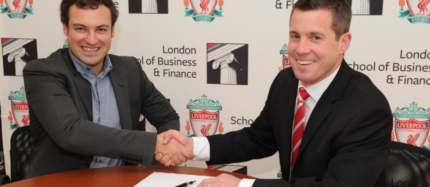 LSBF Founder Aaron Etingen (left) and Billy Hogan, Chief Commercial Officer at LFC, signing the partnership