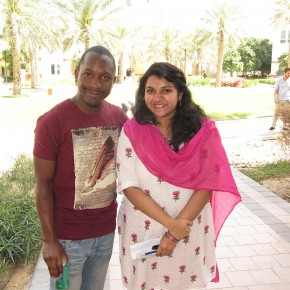 Diom from Cameroon and Sanjina, Dubai-born but Indian, both at Murdoch Universirt