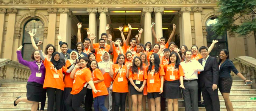 The organising team of My Study, My Career International Student Forum 2013 with fellow student ambassadors in front of Sydney's Town Hall