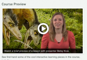 Those browsing MOOC options can see a preview of the Dino 101 course