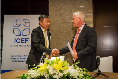 BOSSA President Sang Peng and ICEF CEO Markus Badde at the official signing ceremony in Beijing.