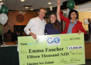 Go Overseas and Education New Zealand surprised winner Emma Faucher with a cheque worth NZ$15,000 for a semester abroad scholarship in New Zealand.