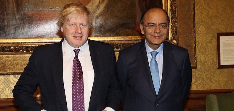 Indian finance minister Arun Jaitley with UK foreign secretary Boris Johnson