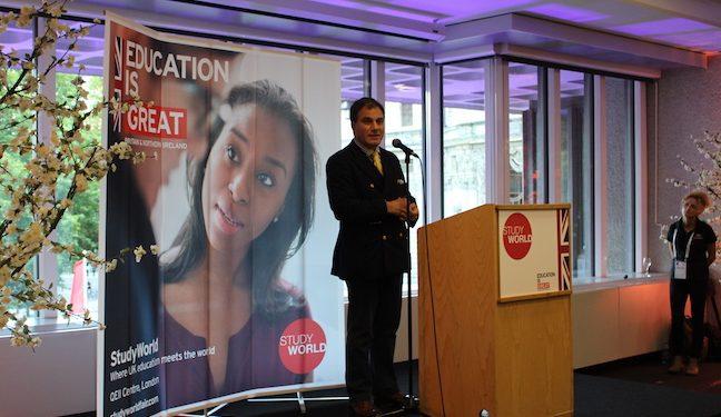 Lord Bilimoria addresses delegates at StudyWorld in London.