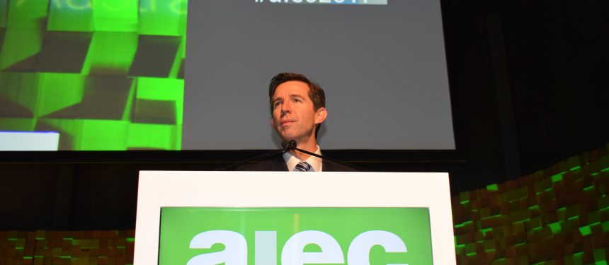 Education minister Simon Birmingham announced the new policy at AIEC in Hobart.