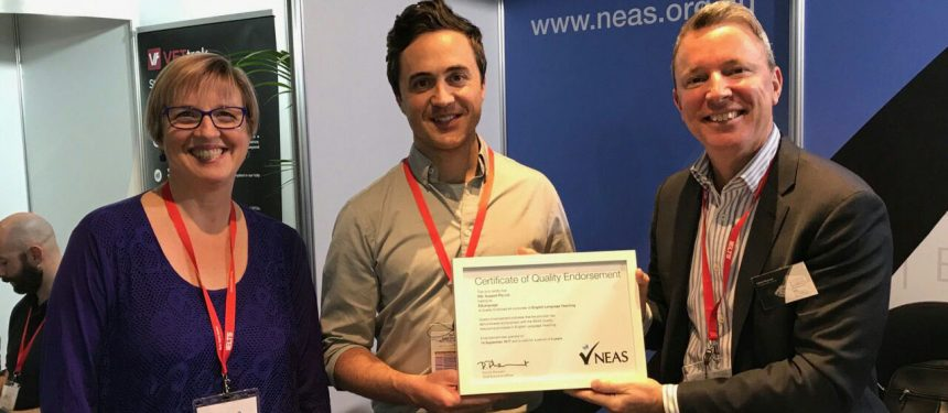 NEAS GM Ana Bratkovic, with E2Language co-founder Jarrad Merlo and NEAS chief executive Patrick Pheasant