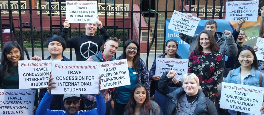 Domestic students have protested the lack of travel concessions for international students in NSW. Photo: CAPA