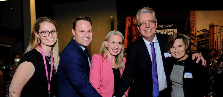 Weston (second from right) at the opening of the new Brisbane location. Photo: Student One